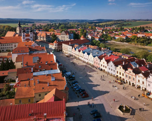 Aerial panorama of old town Telc, Southern Moravia, Czech Republic Aerial view of old town Telc, Czech Republic moravia stock pictures, royalty-free photos & images