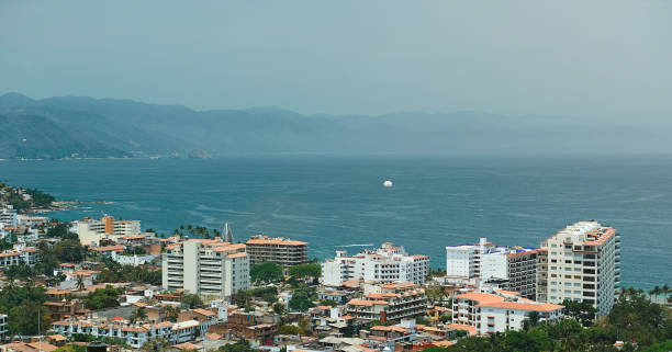 Aerial panorama of puerta vallarta stock photo