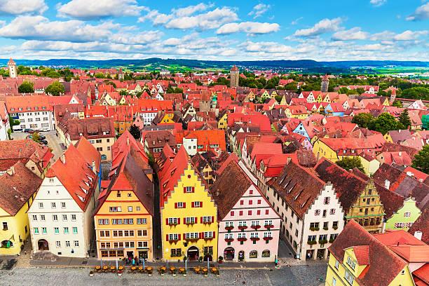 aerial panorama of rothenburg ob der tauber, germany - rothenburg stockfoto's en -beelden