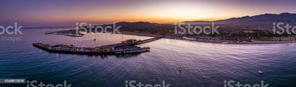 Aerial Panorama of Santa Barbara, CA at Dusk stock photo
