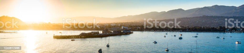 Aerial Panorama of Santa Barbara from the Sea at Sunset stock photo