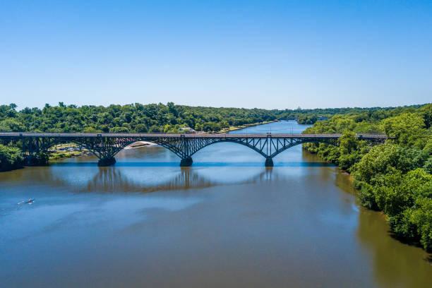 Aerial panorama of Schuylkill River and Fairmount park in Philadelphia stock photo