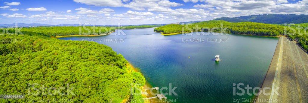 Aerial panorama of Silvan Reservoir in Melbourne, Victoria, Australia stock photo