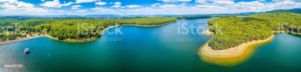 Aerial panorama of Silvan Reservoir lake in Victoria, Australia stock photo