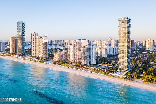 istock Aerial panorama of skyline at waterfront of South Florida 1191754246