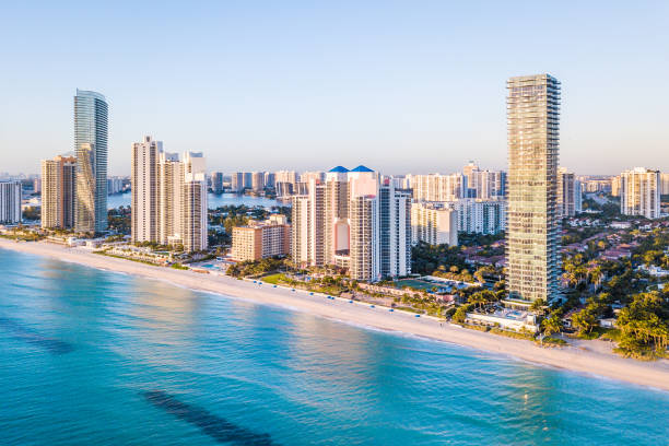 Aerial panorama of skyline at waterfront of South Florida stock photo