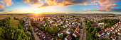 istock Aerial panorama of small town at sunrise 1224621889
