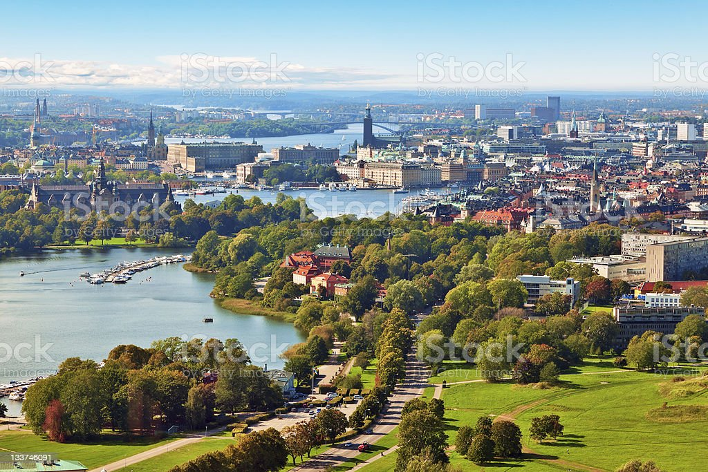 Aerial panorama of Stockholm, Sweden royalty-free stock photo