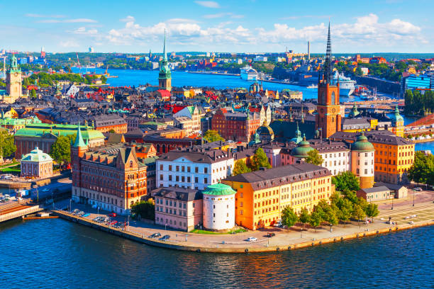 Aerial panorama of Stockholm, Sweden Scenic summer aerial panorama of the Old Town (Gamla Stan) pier architecture in Stockholm, Sweden stockholm stock pictures, royalty-free photos & images