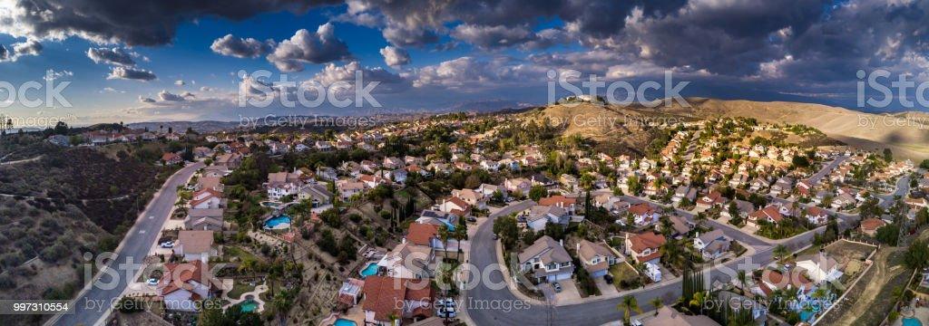 Aerial Panorama of Suburban Sprawl stock photo