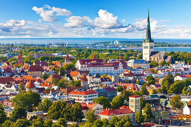 aerial panorama of tallinn, estonia - estonya stok fotoğraflar ve resimler