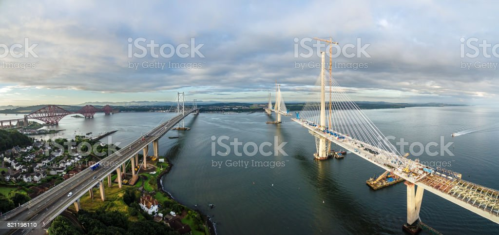 Aerial panorama of the bridges on the Firth of Forth. Scotland, UK stock photo