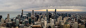 istock Aerial Panorama of the Chicago Skyline at Sunset 1141279058