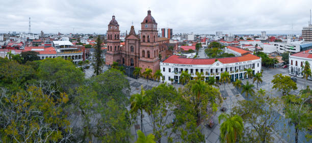 Aerial panorama of the city of Santa Cruz de La Sierra in Bolivia stock photo