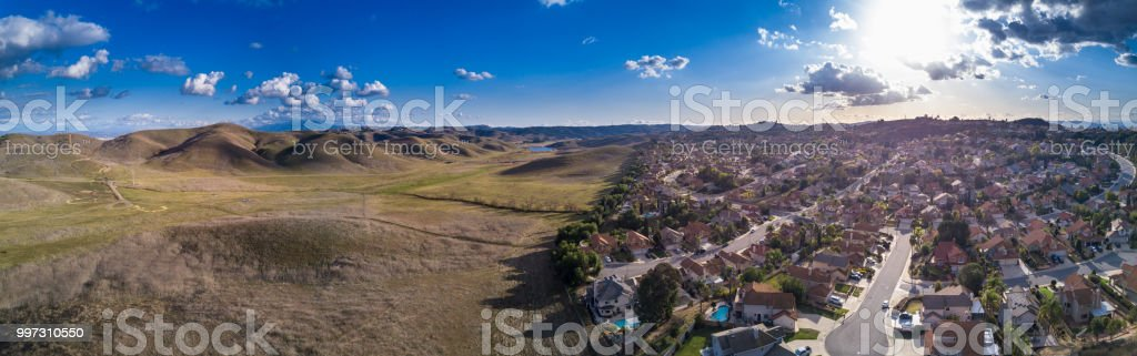 Aerial Panorama of the Edge of a Southern California Suburb stock photo
