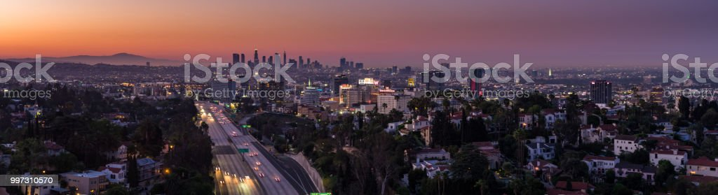 Aerial Panorama of the Hollywood Hills with DTLA Skyline stock photo