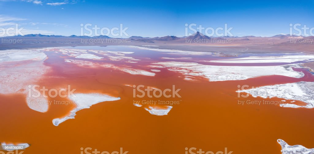 Aerial panorama of the Laguna Colorada royalty-free stock photo