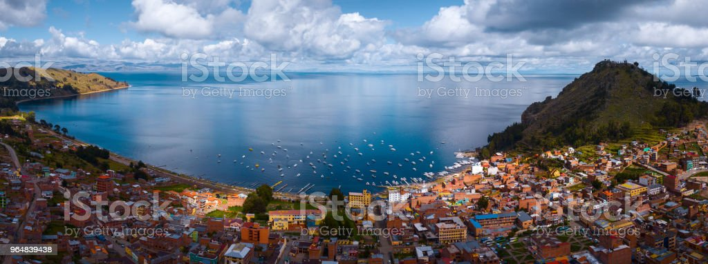 Aerial panorama of the lake of Titicaca royalty-free stock photo