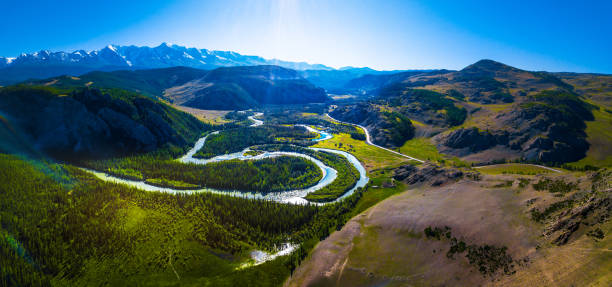 aerial panorama of the mountains - państwowy rezerwat przyrody altay zdjęcia i obrazy z banku zdjęć