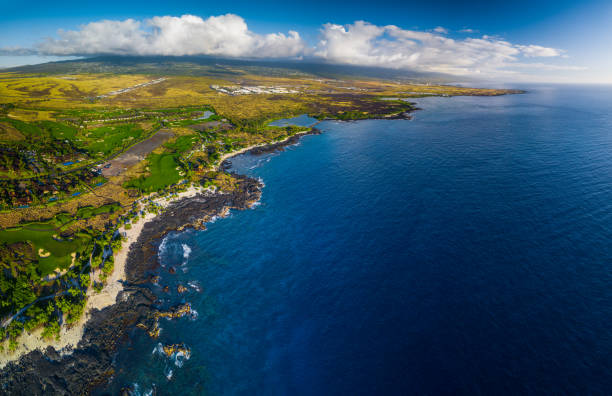 Aerial panorama of the western coastline of the Big Island, Hawaii stock photo