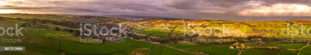 Aerial Panorama of the Worth Valley, West Yorkshire stock photo