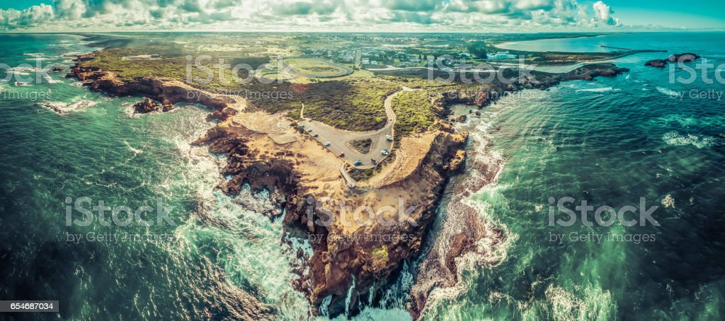 Aerial panorama of Thunder Point lookout and Warrnambool, Victoria, Australia stock photo