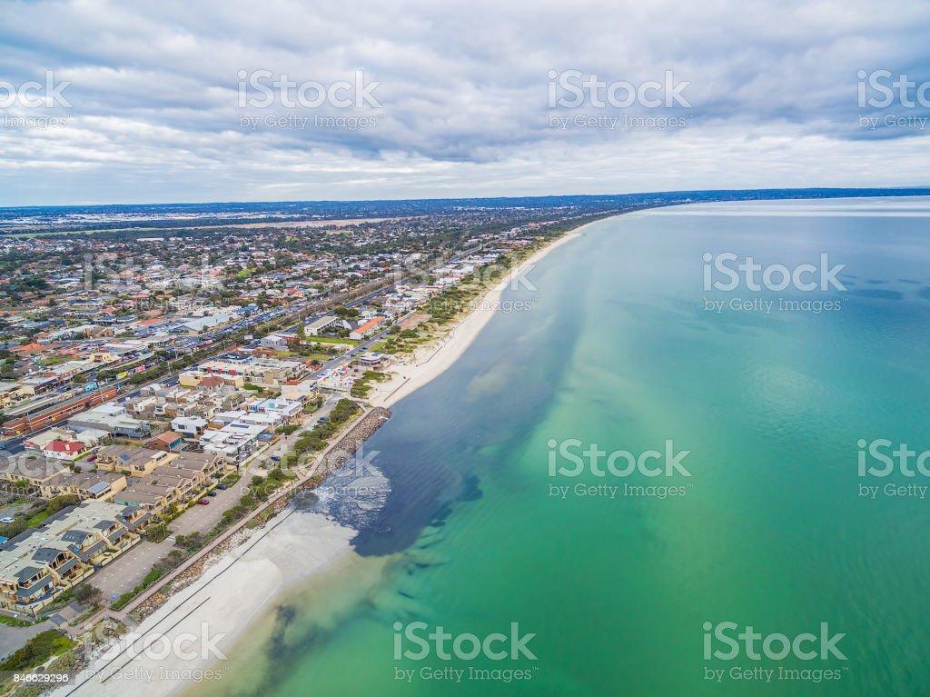 Aerial panorama of urban area on ocean coastline stock photo
