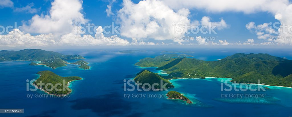 aerial panorama of US and British Virgin Islands stock photo