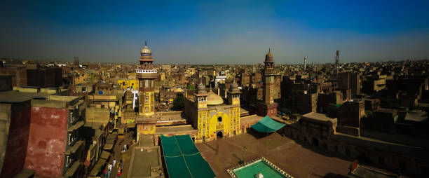 Aerial Panorama of Wazir Khan Mosque, Lahore, Pakistan Aerial Panorama of Wazir Khan Mosque in Lahore, Pakistan lahore pakistan stock pictures, royalty-free photos & images