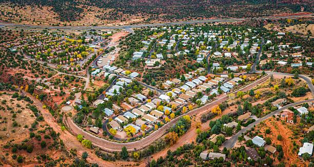 Aerial panorama over suburban desert homes trailer park housing Arizona stock photo