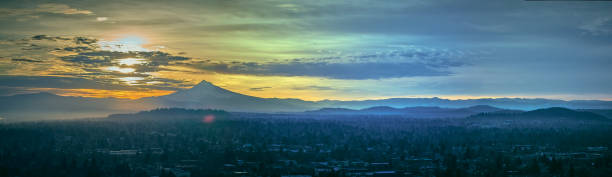 Aerial Panorama Sunrise over Mt Hood on a cold winter morning stock photo