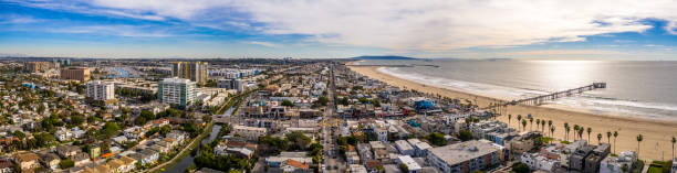 Aerial Panorama Venice Beach Los Angeles California City Beach Pear Ocean Aerial Panorama Venice Beach Los Angeles California City Beach Pear Ocean venice beach stock pictures, royalty-free photos & images