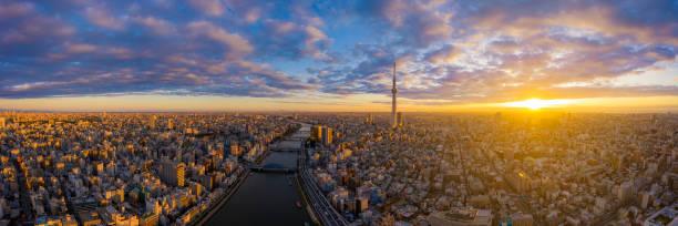 Luftbild ansicht per Drohne von Tokyo Cityscape mit Tokyo Sky Tree sichtbar – Foto