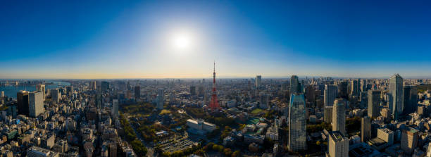 Luftbild ansicht mit drohne des Tokyo Cityscape mit Tokyo Tower – Foto