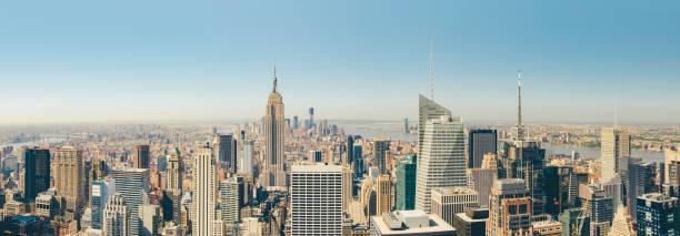 Aerial panorama view Manhattan New York City stock photo