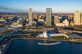 istock Aerial panorama view of Downtown Milwaukee at sunrise 1291695963