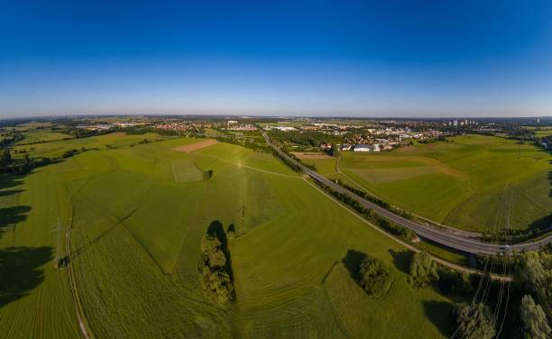 Aerial panorama view of the meadows and river Regnitz at Erlangen Aerial panorama view of the meadows and river Regnitz at Erlangen, Bavaria erlangen stock pictures, royalty-free photos & images