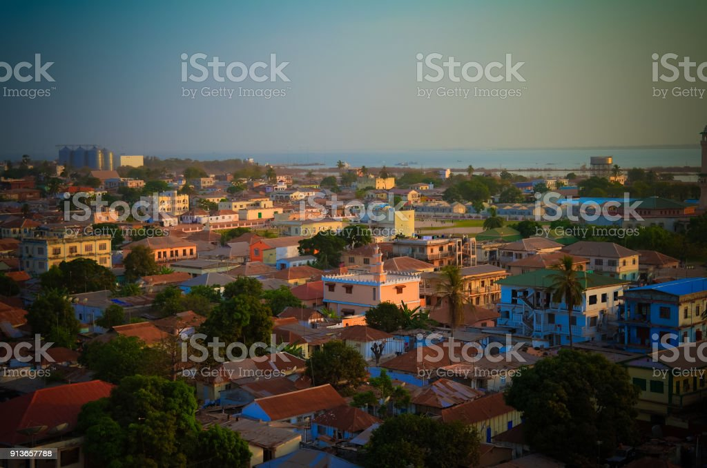 Aerial panorama view to city of Banjul and Gambia river stock photo