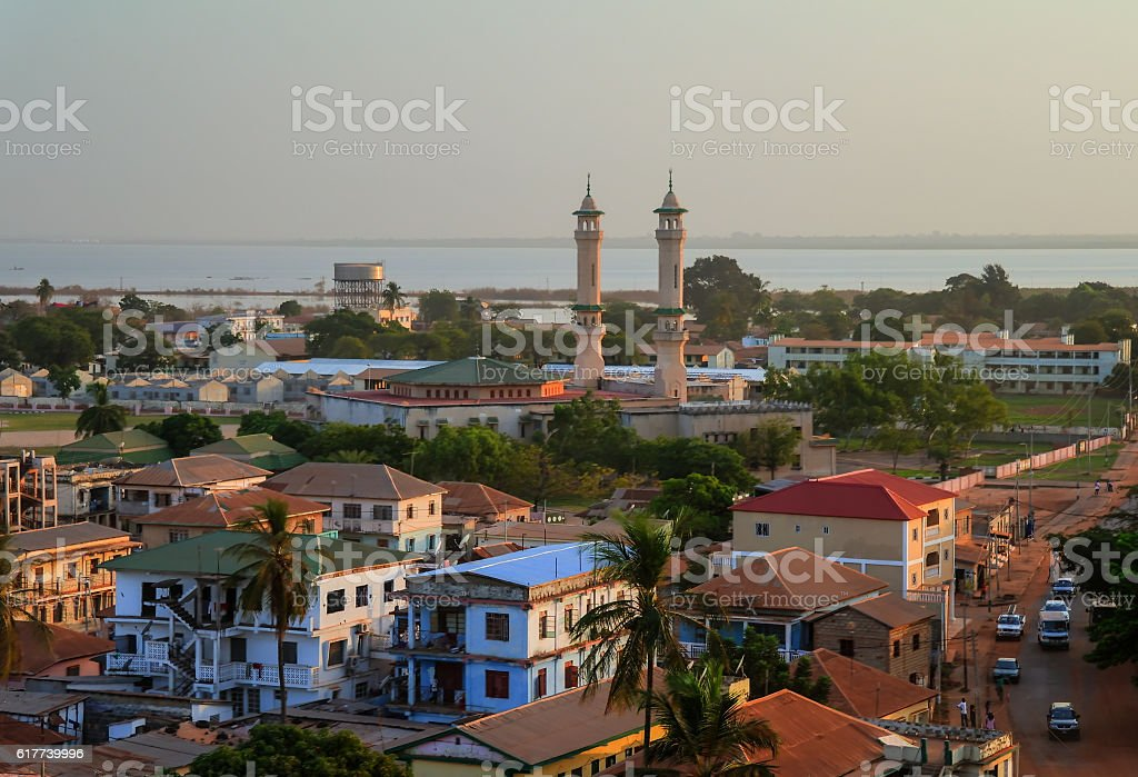 Aerial panorama view to city of Banjul, Gambia stock photo