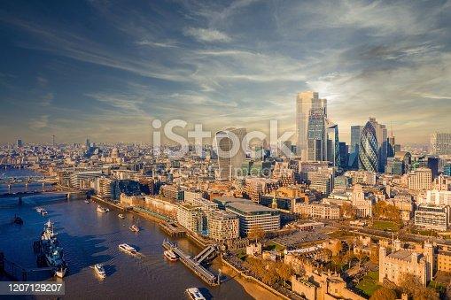 Aerial panoramic city of London skyline view at sunset, UK.