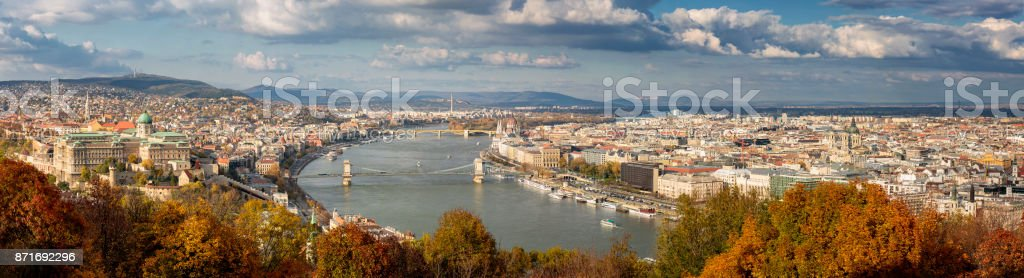 Aerial panoramic cityscape of Budapest in the autumn season stock photo