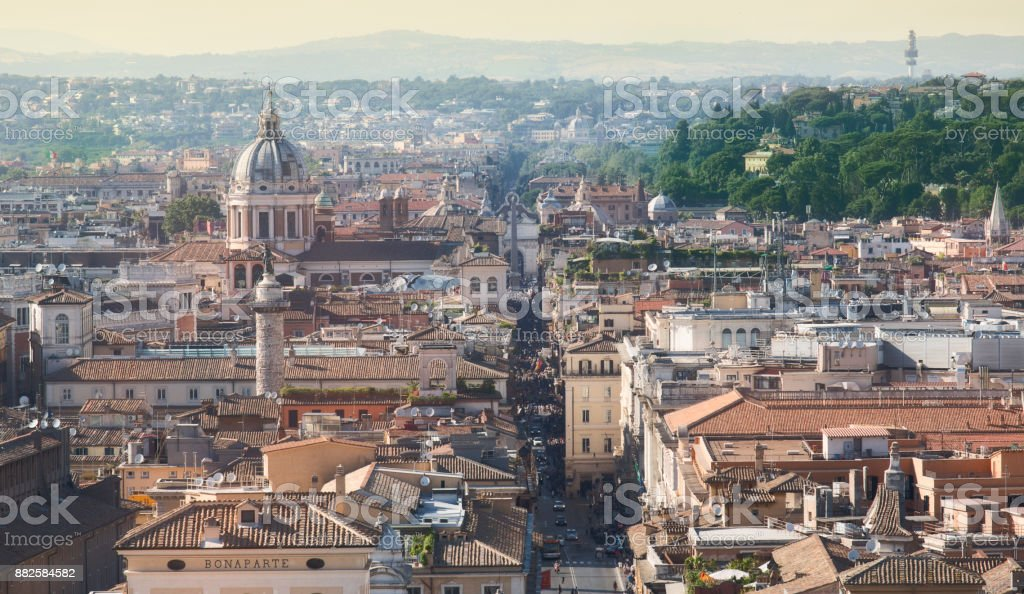 Aerial panoramic cityscape of Rome, Italy stock photo
