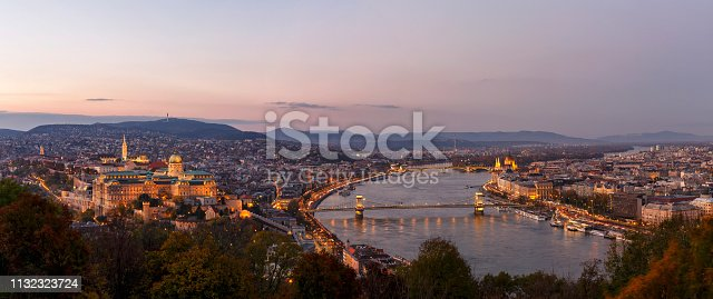 Panoramic view of Budapest with Szechenyi Chain Bridge, Matthias Church and Hungarian Parliament Building at dusk