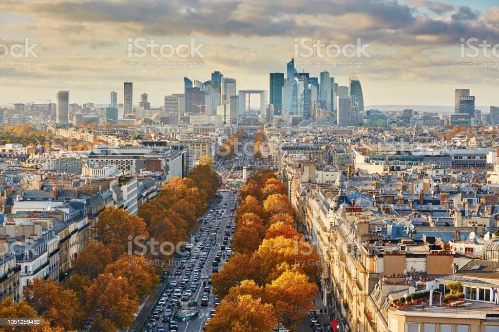 Aerial panoramic cityscape view of Paris, France Aerial panoramic cityscape view of Paris, France with La Defense, business district of Paris Aerial View Stock Photo