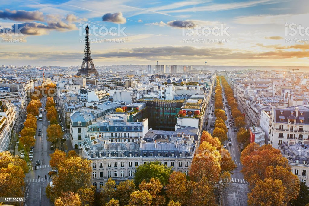 Aerial Panoramic Cityscape View Of Paris France Stock