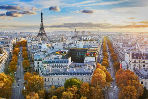 panoramiczny widok na miasto paryż, francja - francja zdjęcia i obrazy z banku zdjęć