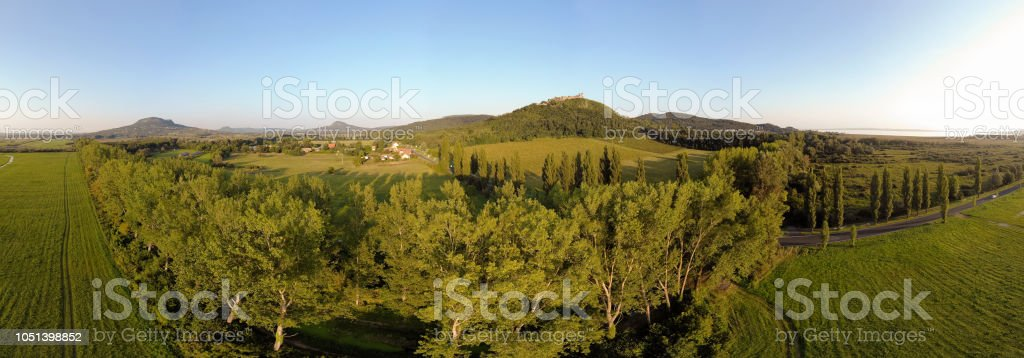 Aerial panoramic drone picture from a Hungarian landscape , near the lake Balaton – zdjęcie