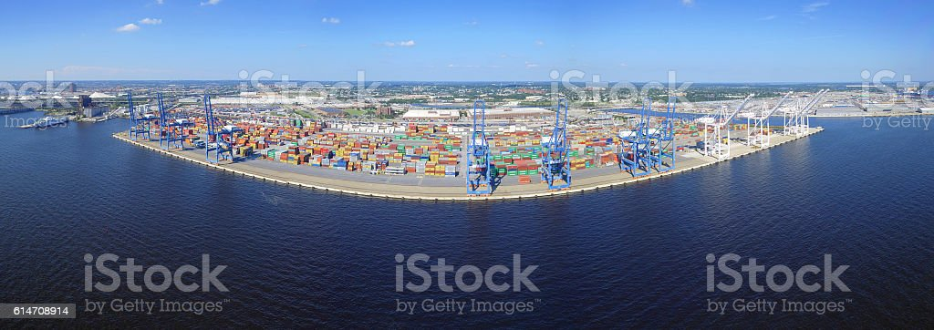 Aerial panoramic of an industrial port stock photo
