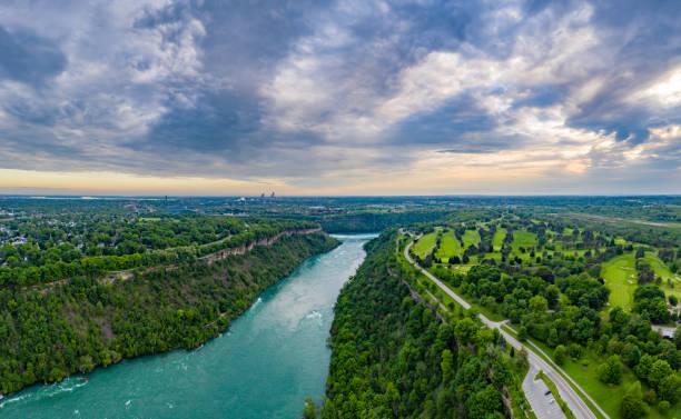 Aerial Panoramic of Niagara River and Niagara River Recreation Trail, Ontario, Canada Ontario, Canada rainbow bridge ontario stock pictures, royalty-free photos & images