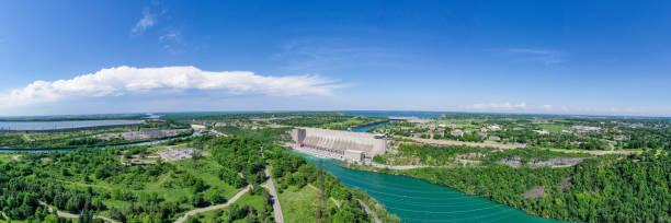 Aerial Panoramic of Niagara River, Ontario, Canada Ontario, Canada rainbow bridge ontario stock pictures, royalty-free photos & images